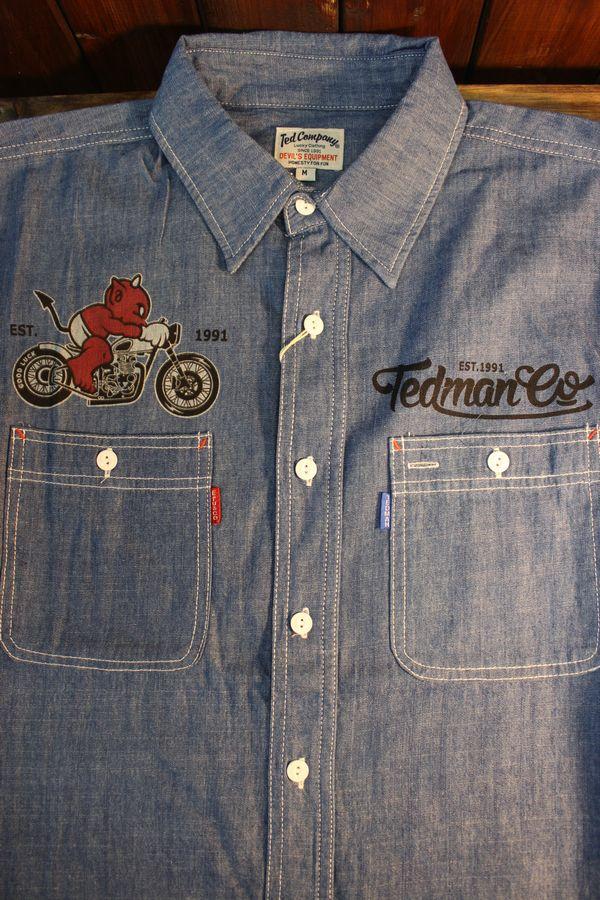 エフ商会 TEDMAN(テッドマン) TSHB-1500 DEVIL MOTORS 染込みプリントシャンブレーシャツ L.BLUE