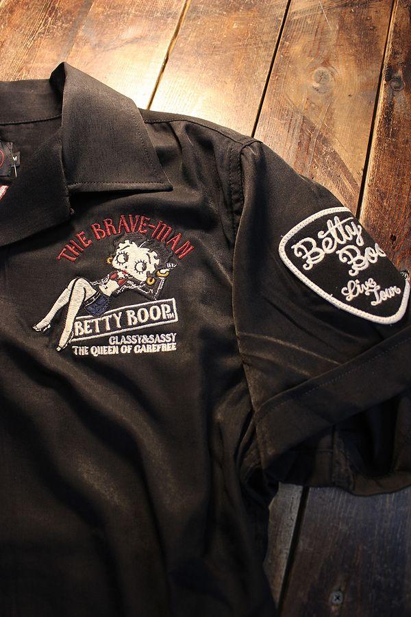 The BRAVE-MAN×BETTY BOOP ベティ BBB-2122 レーヨン半袖開襟シャツ ブラック