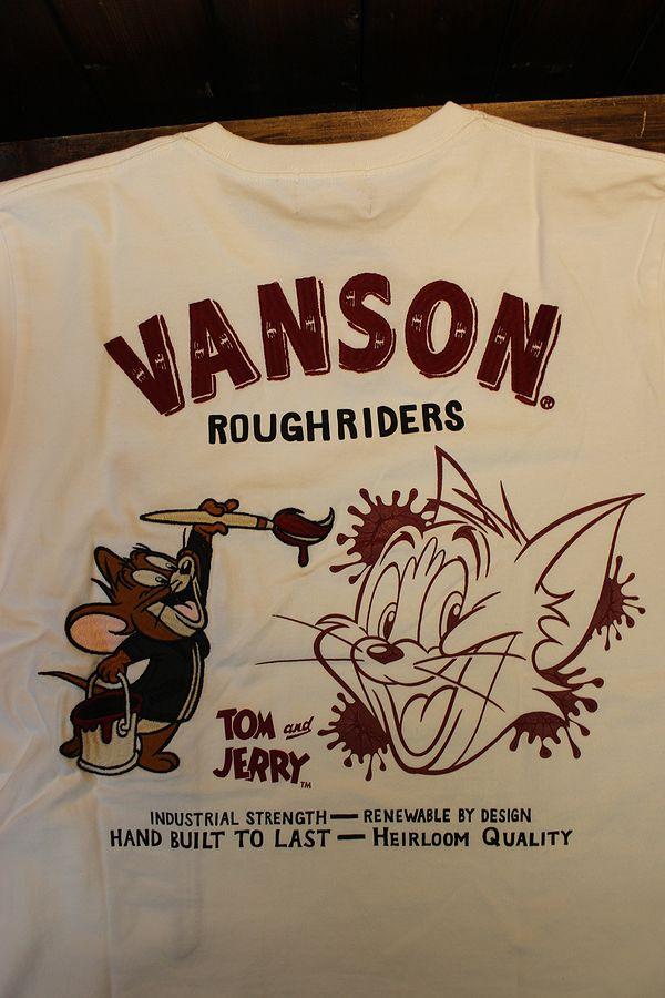 VANSON×Tom and Jerry トムとジェリーコラボ TJV-2129 天竺ロンTee 長袖Tシャツ オフホワイト