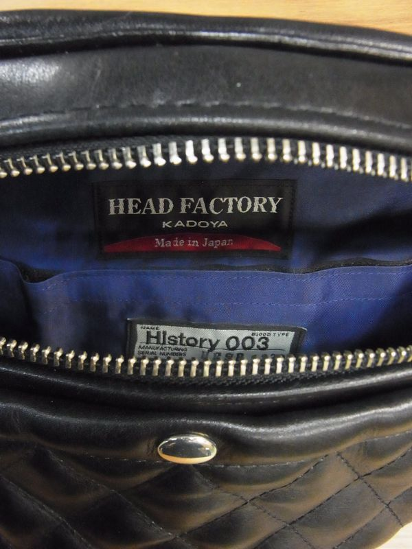 KADOYA×Historyコラボ HFG/SHOULDER BAG-PTD へッドファクトリーショルダーバッグ・パテッド シルバーファスナー 専用ハーネス付き