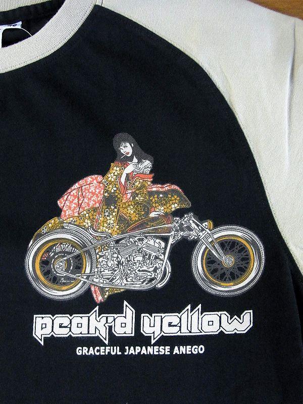 エフ商会 PEAK'D YELLOW(ピークドイエロー) PYT-197 コットンTシャツ ハーレー アメリカン ブラック/ベージュ