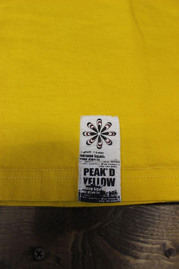 エフ商会 PEAK'D YELLOW(ピークドイエロー) PYT-202 コットンTシャツ ギターを奏でる姉御のデザイン