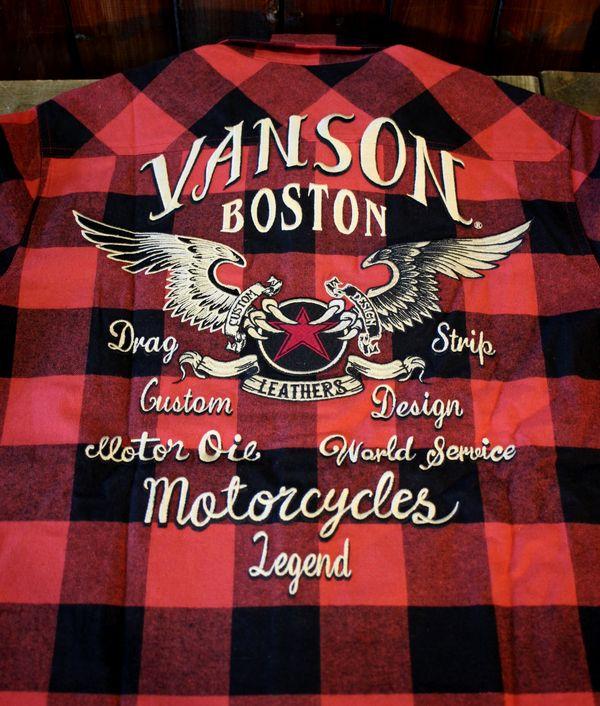 VANSON(バンソン) NVSL-903 バッファローチェックシャツ ウイング スター レッド