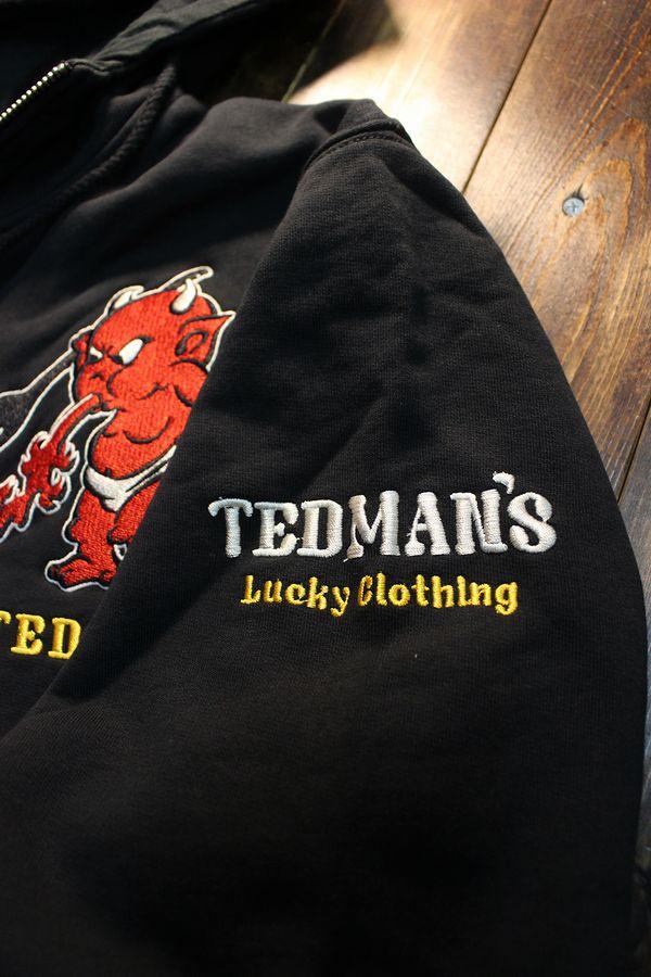 エフ商会 TEDMAN(テッドマン) TDSP-153 TIGER&TEDMAN タイガー&テッドマン 刺繍厚手パーカー ブラック