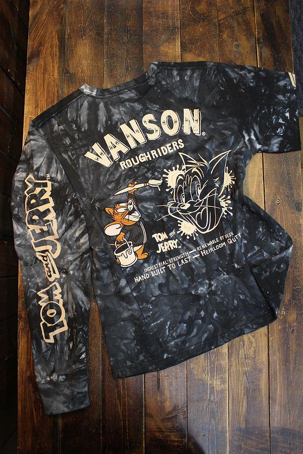 VANSON×Tom and Jerry トムとジェリーコラボ TJV-2129 天竺ロンTee 長袖Tシャツ タイダイ