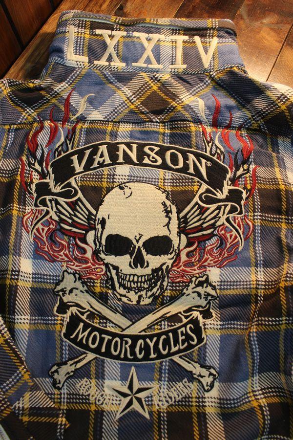 VANSON(バンソン) NVSL-909 ボリュームネックヘビーネルZipシャツ スカル ブルー