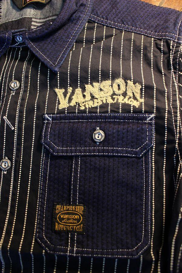 VANSON バンソン NVSS-2004 刺し子切替デニム半袖シャツ WABASH