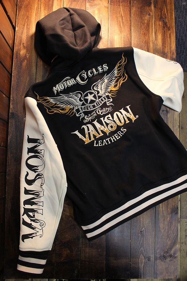 VANSON バンソン NVSZ-2018 ボンディングスタジャン フード着脱式 ウイング 刺繍 ブラック/アイボリー