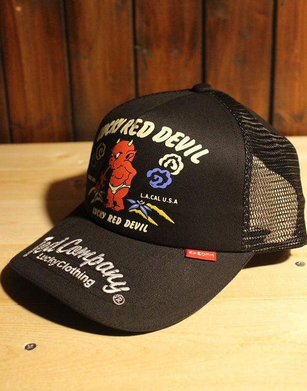 エフ商会 TEDMAN(テッドマン) TDC-7800 Lucky Red Devil メッシュキャップ ブラック