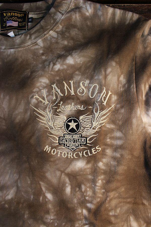 VANSON バンソン NVLT-2026 天竺長袖Tee 刺繍ロンTee ウイング ブラウンタイダイ