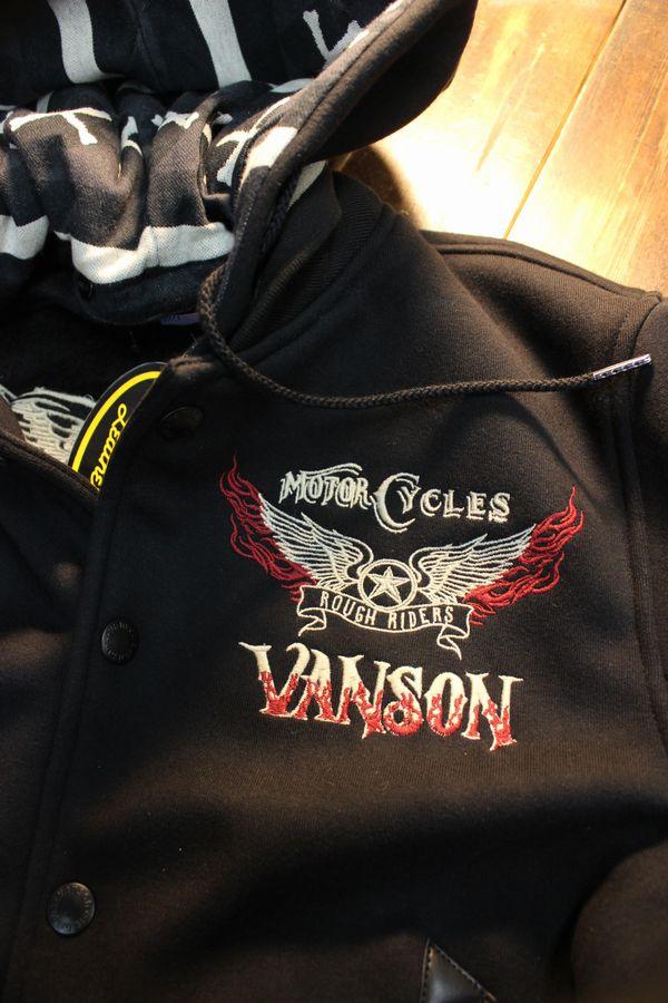 VANSON バンソン NVSZ-2018 ボンディングスタジャン フード着脱式 ウイング 刺繍 ブラック
