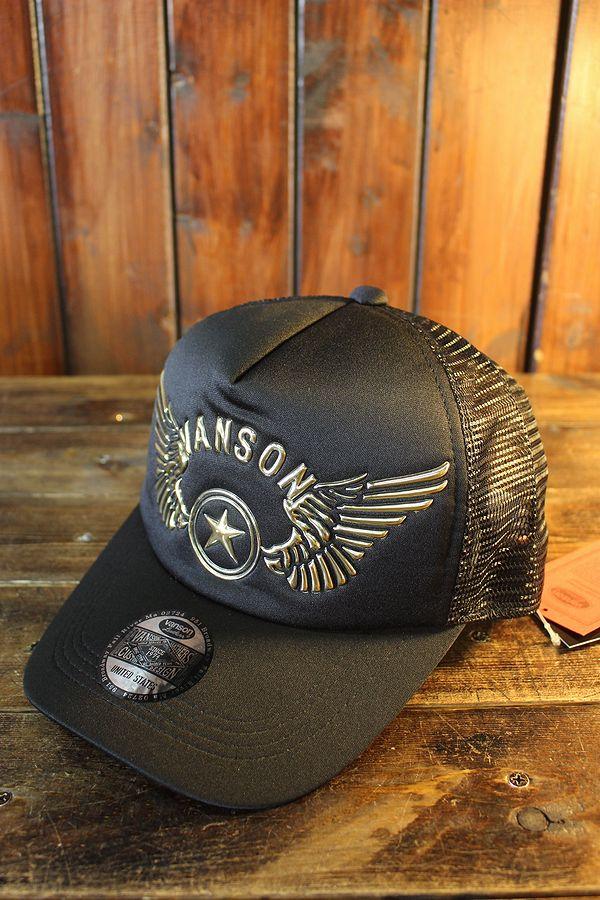 VANSON バンソン NVCP-2101 ウレタンメッシュキャップ  ブラック