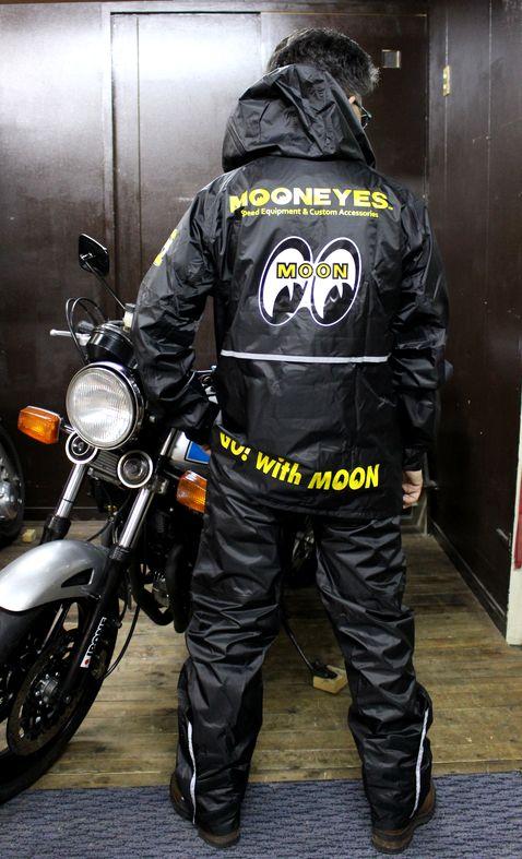 MOONEYES ムーンアイズ モーターサイクルレインウエア OMR-001 着脱式フード付き合羽