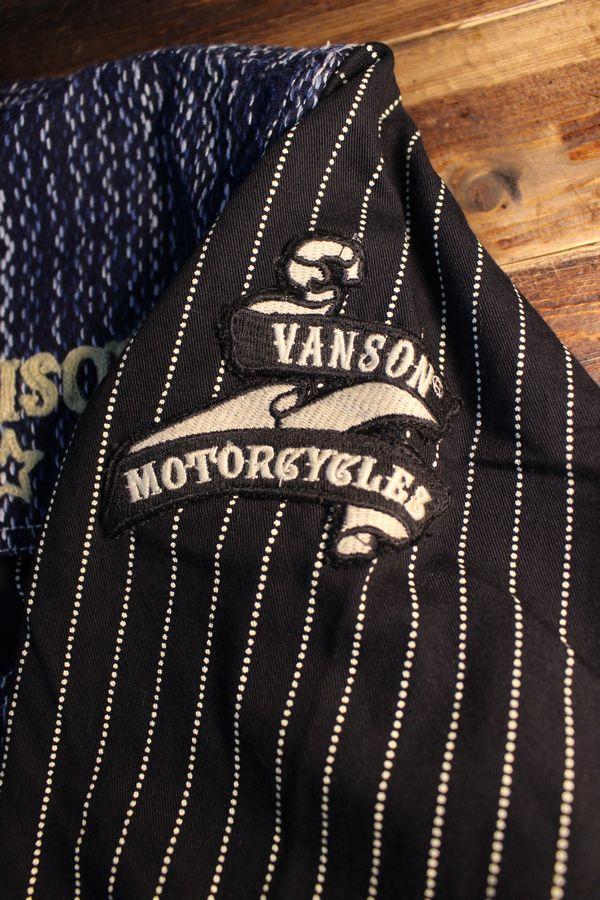 VANSON バンソン NVSL-2006 刺し子切替デニムシャツ チェーン刺繍 WABASH(ONE WASH)