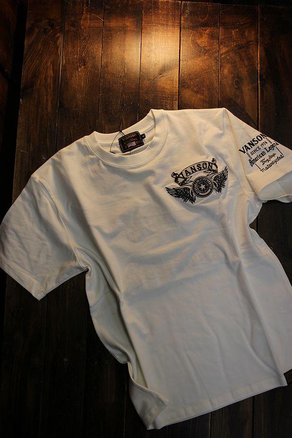 VANSON バンソン NVST-2120 ベア天半袖Tee ウイングTシャツ オフホワイト