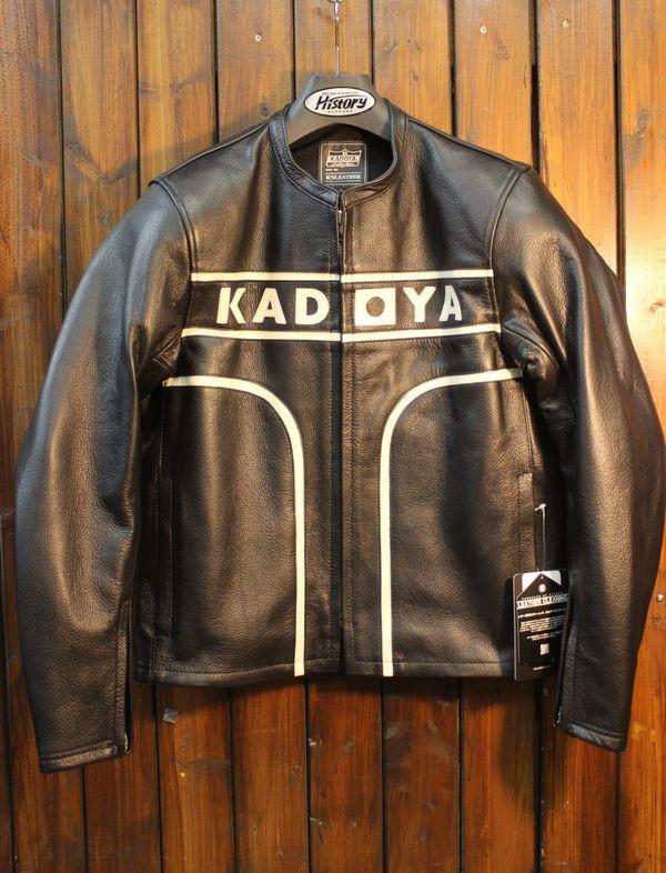 KADOYA(カドヤ) K'S LEATHER  MARK-ONE マークワン 肩・肘・脊椎プロテクター装備 ブラック×アイボリー