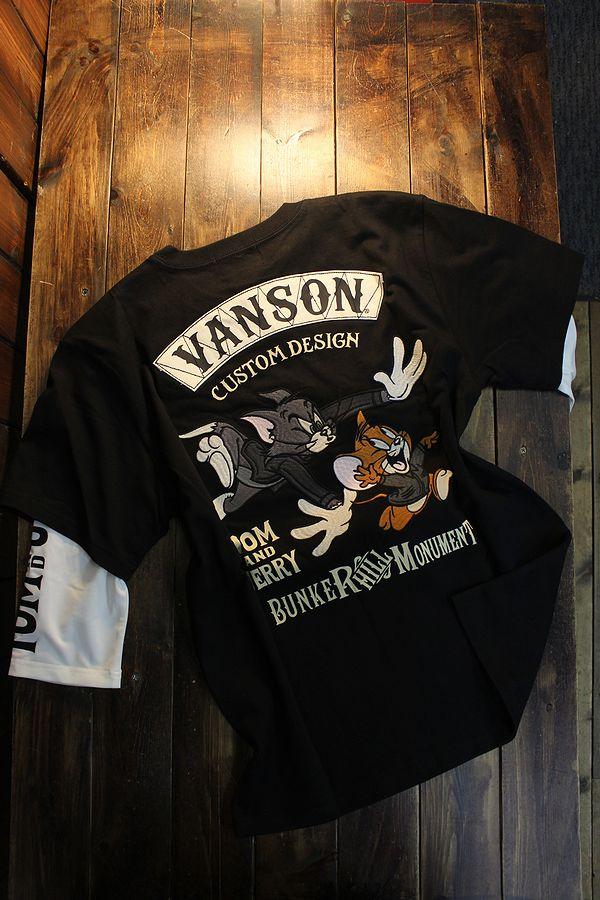 VANSON×Tom and Jerry トムとジェリーコラボ  TJV-2110 天竺6分Tee(フェイク袖) ブラック