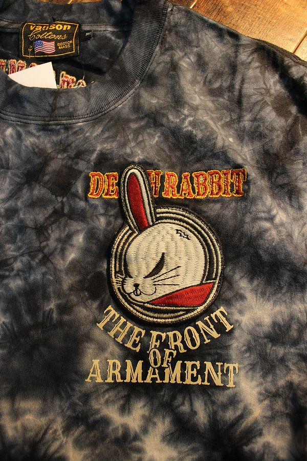 VANSON×CROWS×WORST 武装戦線 コラボ CRV-2008 天竺半袖Tee 刺繍Tシャツ デスラビット タイダイ