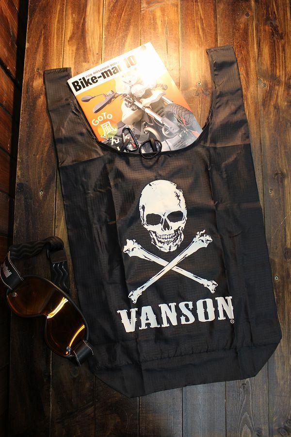VANSON バンソン NVEB-2002 リップストップ生地エコバッグ スカル