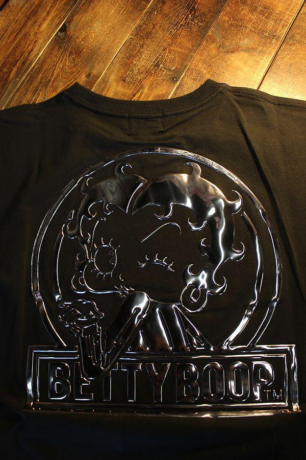 The BRAVE-MAN×BETTY BOOP ベティTシャツ BBB-2119 ベア天半袖Tee ブラック/ガンメタル