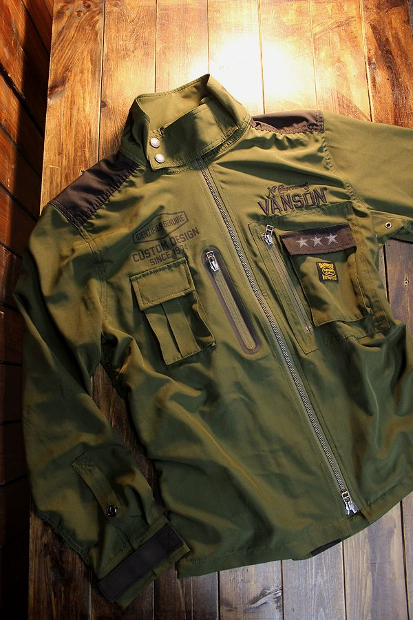 VANSON バンソン  NVSL-2101 ストレッチシャツ ジャケット オリーブ