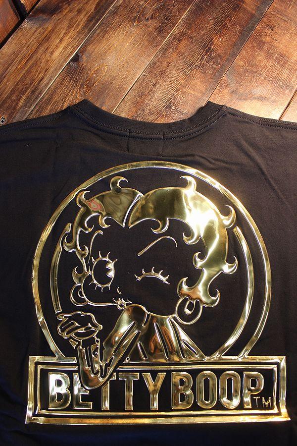 The BRAVE-MAN×BETTY BOOP ベティTシャツ BBB-2119 ベア天半袖Tee ブラック/ゴールド