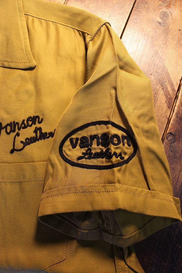 VANSON バンソン NVSS-2101 レーヨンシャツ 半袖開襟シャツ カーキ