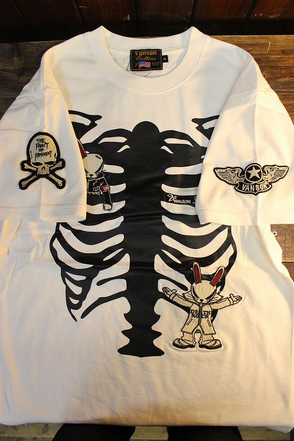 VANSON×CROWS×WORST 武装戦線 コラボ CRV-2113 天竺半袖Tee デスラビット 刺繍Tシャツ オフホワイト
