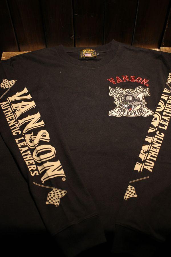 VANSON×Tom and Jerry トムとジェリーコラボ TJV-902 天竺ロンTee ブラック