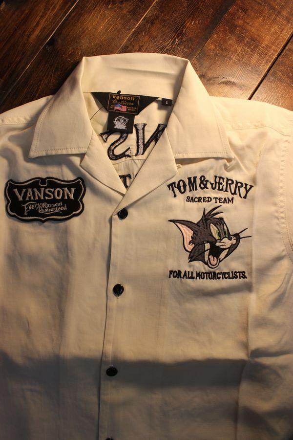 VANSON×Tom and Jerry トムとジェリーコラボ TJV-2114 半袖レーヨンボーリングシャツ ナチュラル