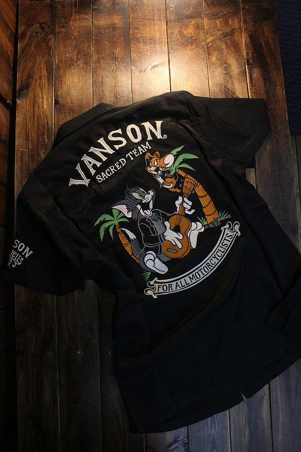 VANSON×Tom and Jerry トムとジェリーコラボ TJV-2114 半袖レーヨンボーリングシャツ ブラック