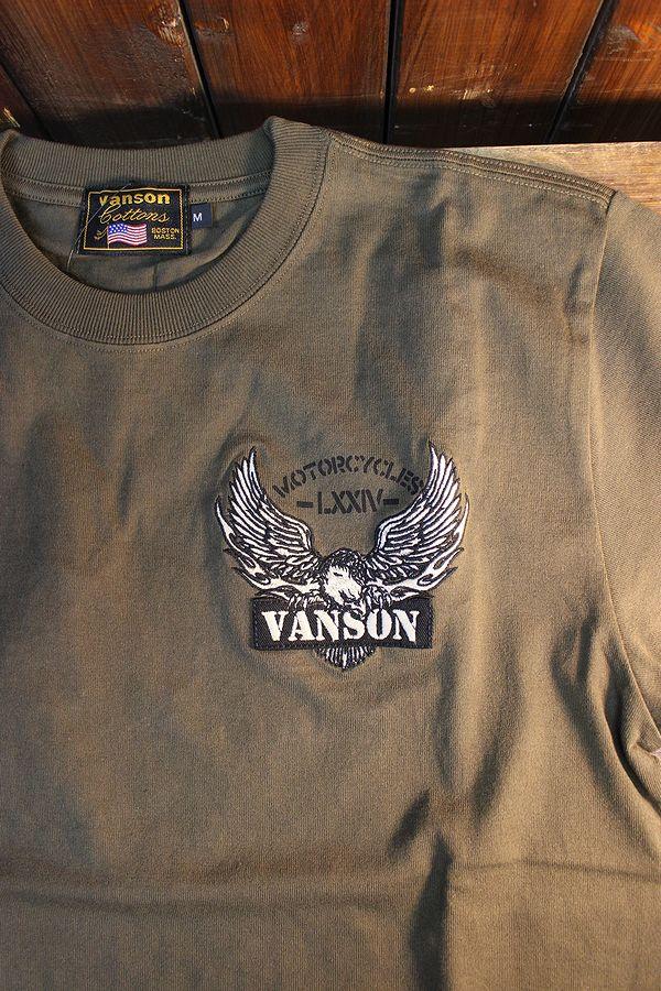 VANSON バンソン NVST-2117 天竺半袖Tee イーグル 刺繍Tシャツ オリーブ