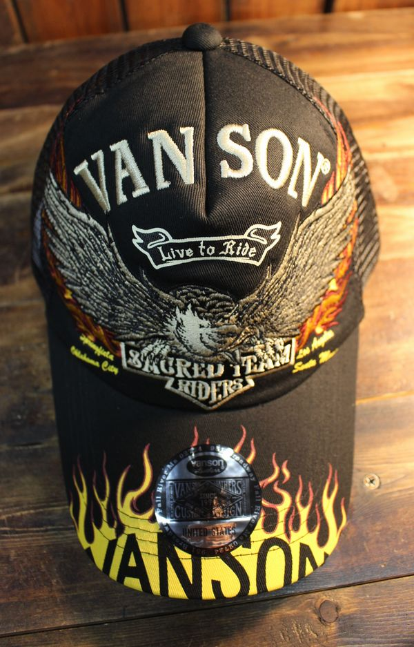 VANSON バンソン NVCP-2005 ツイルメッシュキャップ ブラック/ブラック