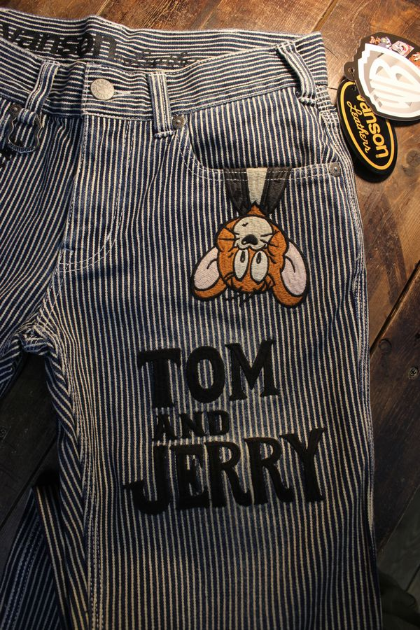 VANSON×Tom and Jerry トムとジェリー TJV-2117 刺繍デニムパンツ ジーンズ ヒッコリー
