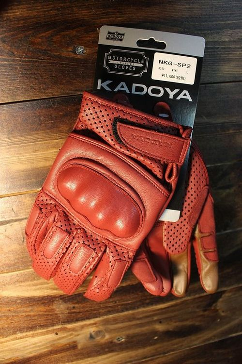 カドヤ(KADOYA) NKG-SP 2 ナックルプロテクター付き パンチングレザーグローブ ワイン