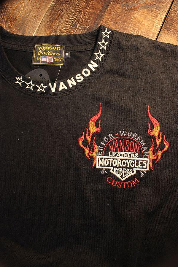 VANSON バンソン NVST-2112 天竺半袖Tee メッシュポケット付き 刺繍Tシャツ ブラック