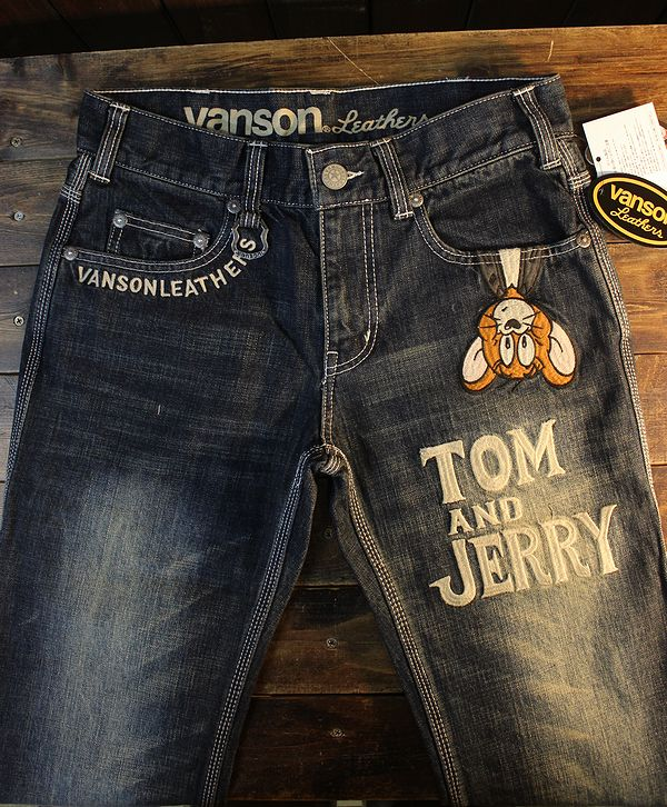 VANSON×Tom and Jerry トムとジェリー TJV-2117 刺繍デニムパンツ ジーンズ インディゴ