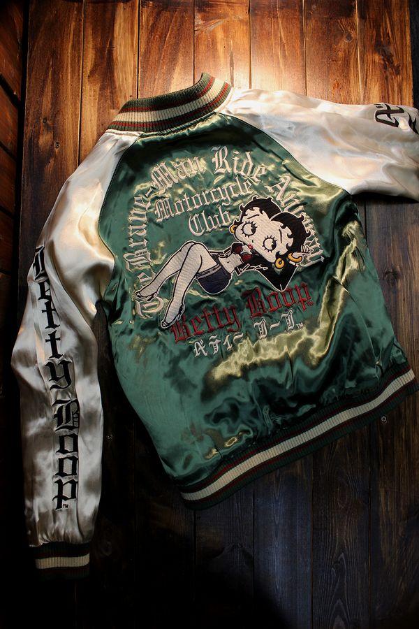 The BRAVE-MAN×betty boop ベティ ブープ BBB-2006 リバーシブルサテンスカジャン 刺繍