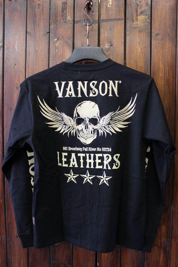 VANSON バンソン 長袖Tシャツ 天竺ロングスリーブTee NVLT-710 天竺ロンTee ブラック