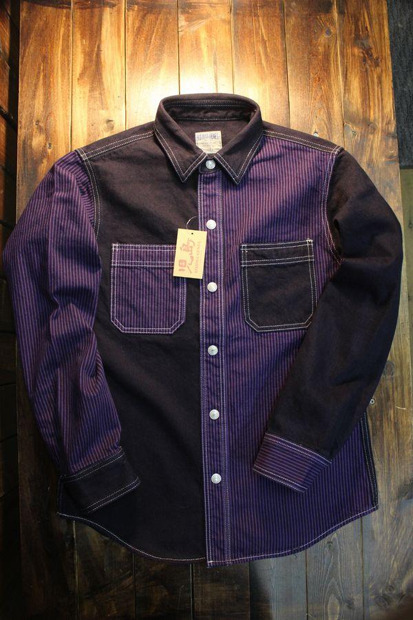 KOJIMA GENES 児島ジーンズ RNB-2013 オーバーダイマルチヒッコリーワークシャツ パープル