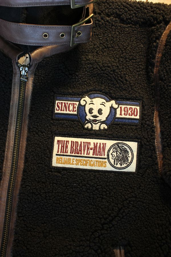 The BRAVE-MAN×BETTY BOOP ザ,ブレイブマン×ベティブープ BBB-2031 B-3フェイクスェードボアブルゾン ブラック