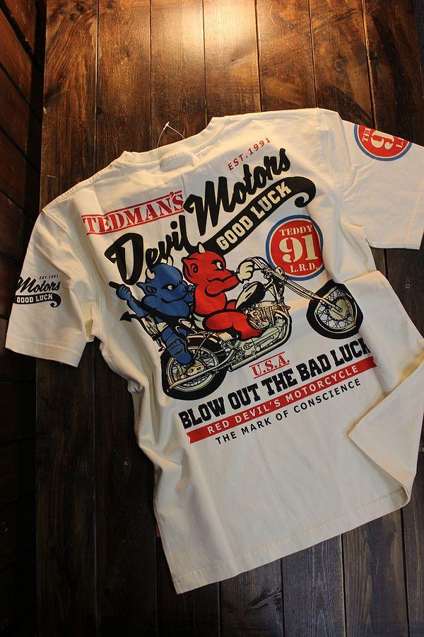 エフ商会 TEDMAN テッドマン TDSS-532 デビルモータース コットンTee Tシャツ オフホワイト