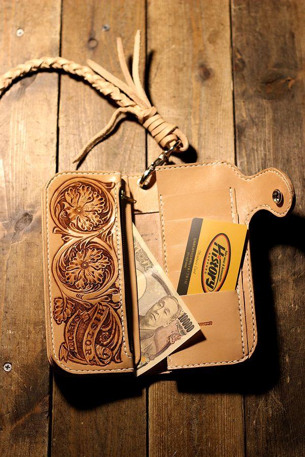 History別注 長財布 ロングウォレット(B) カービング ウォレットロープ付き (左のポケット右きき用)