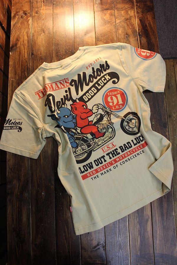 エフ商会 TEDMAN テッドマン TDSS-532 デビルモータース コットンTee Tシャツ ベージュ