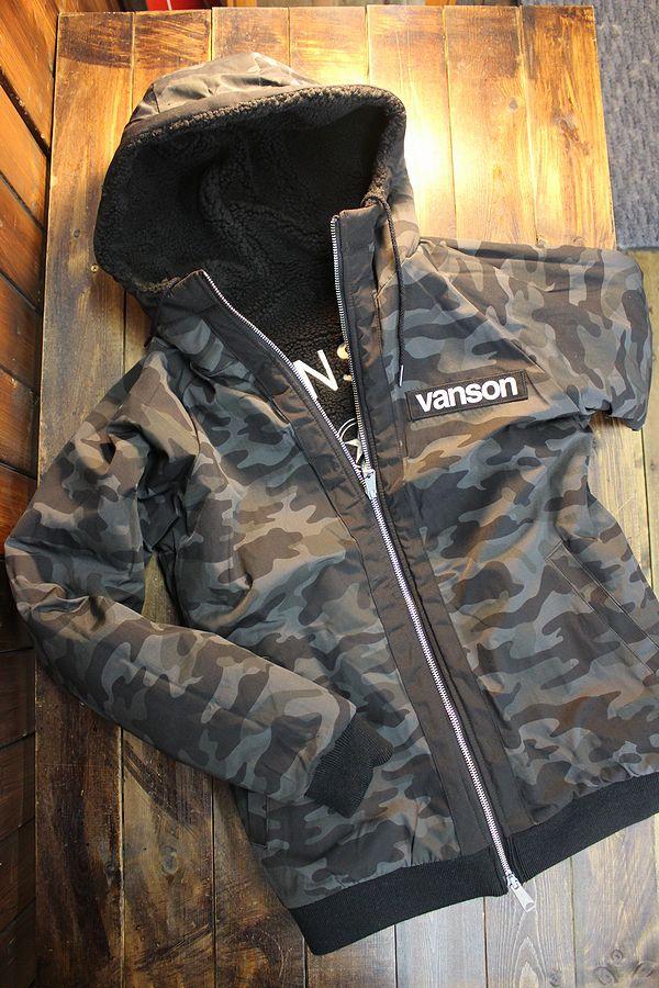 VANSON バンソン NVSZ-2016 リバーシブルボアパーカージャケット ブラック