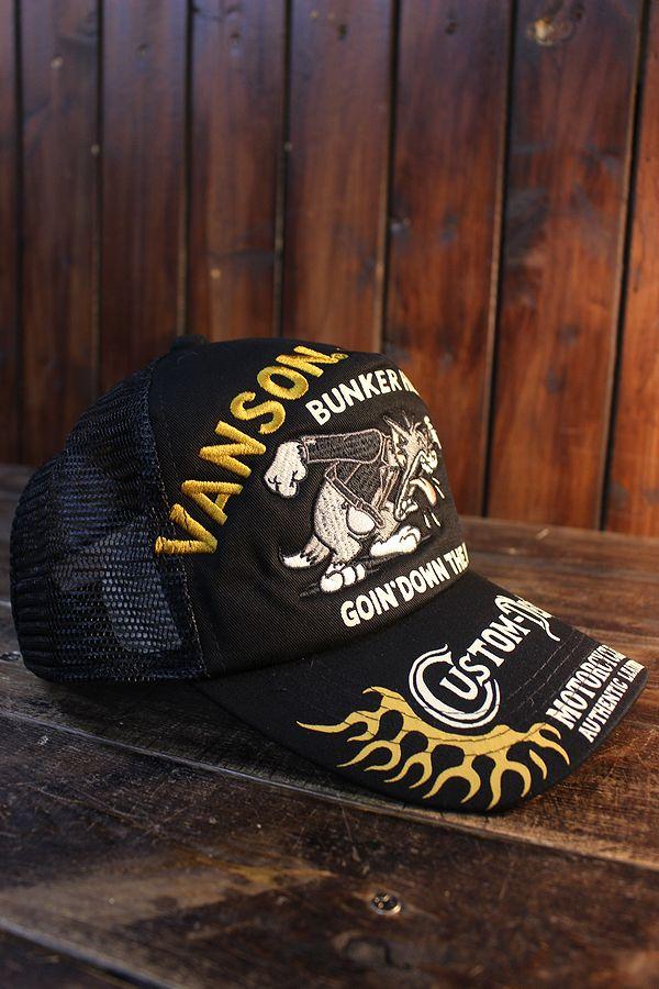 VANSON×Tom and Jerry トムとジェリーコラボ TJV-2116 ツイルメッシュキャップ 刺繍 ブラック