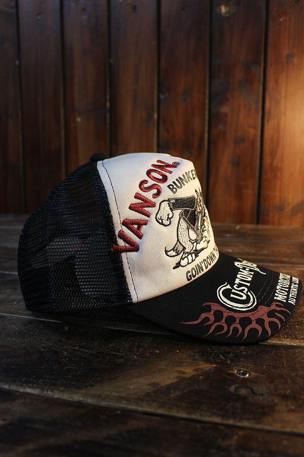 VANSON×Tom and Jerry トムとジェリーコラボ TJV-2116 ツイルメッシュキャップ 刺繍 ブラック/ナチュラル
