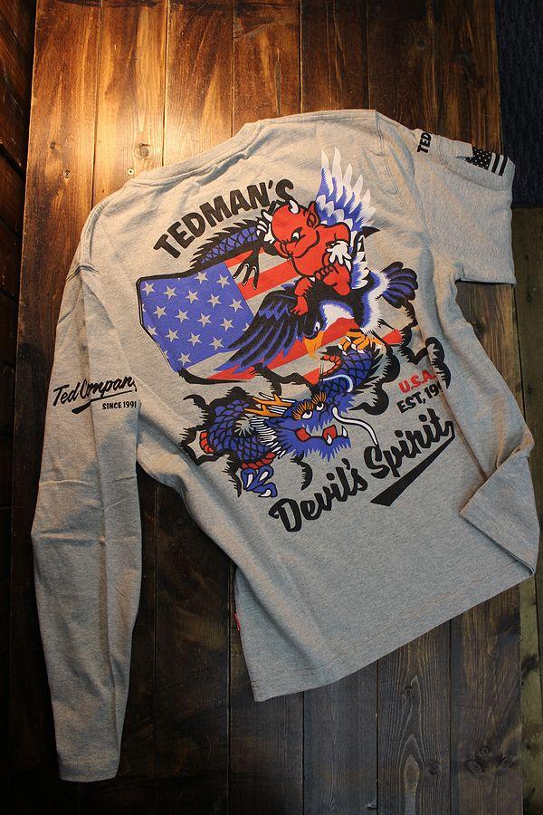 エフ商会 TEDMAN テッドマン TDLS-340 ドラゴン&テッドマン 長袖Tee ロンTee アッシュ