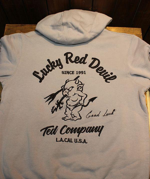 エフ商会 TEDMAN(テッドマン) TDSP-150 Lucky Red Devil zip UP刺繍スウェットパーカ M.サックス