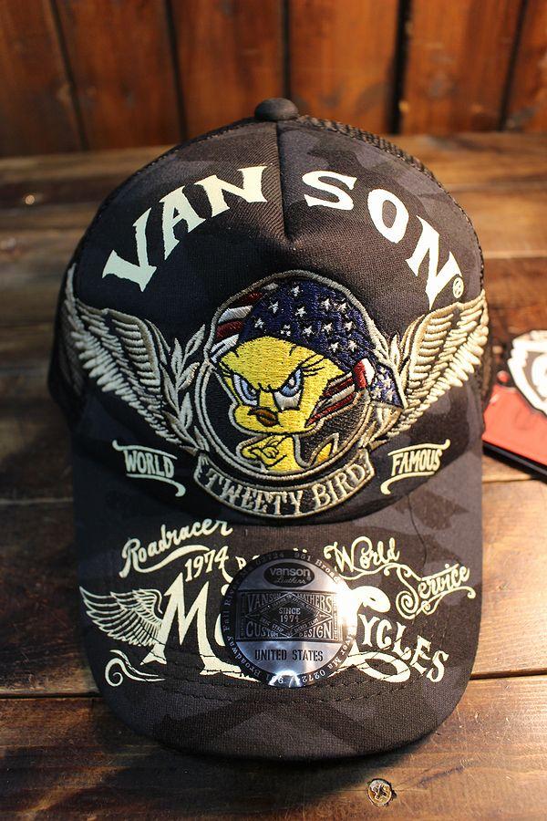 VANSON×Looney Tunes バンソン×ルニーテューンズ トゥイーティ LTV-2011 ツイルメッシュキャップ ブラックカモ/ブラック
